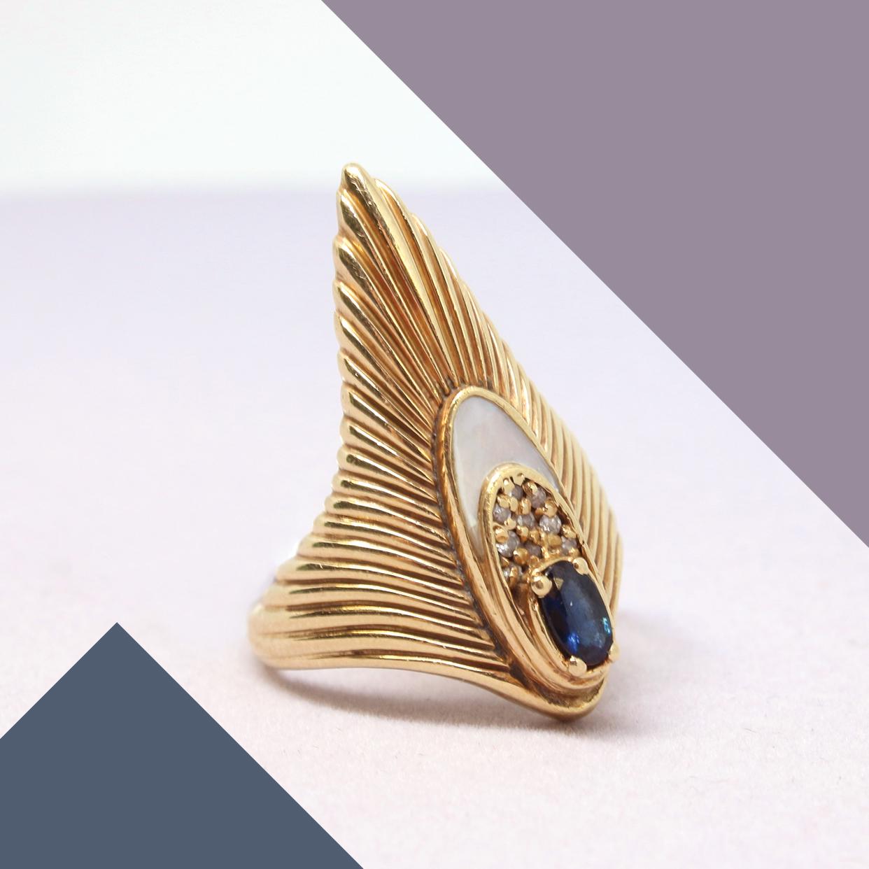 Art Deco Erte Ring - 14 Karat Yellow & Sapphire