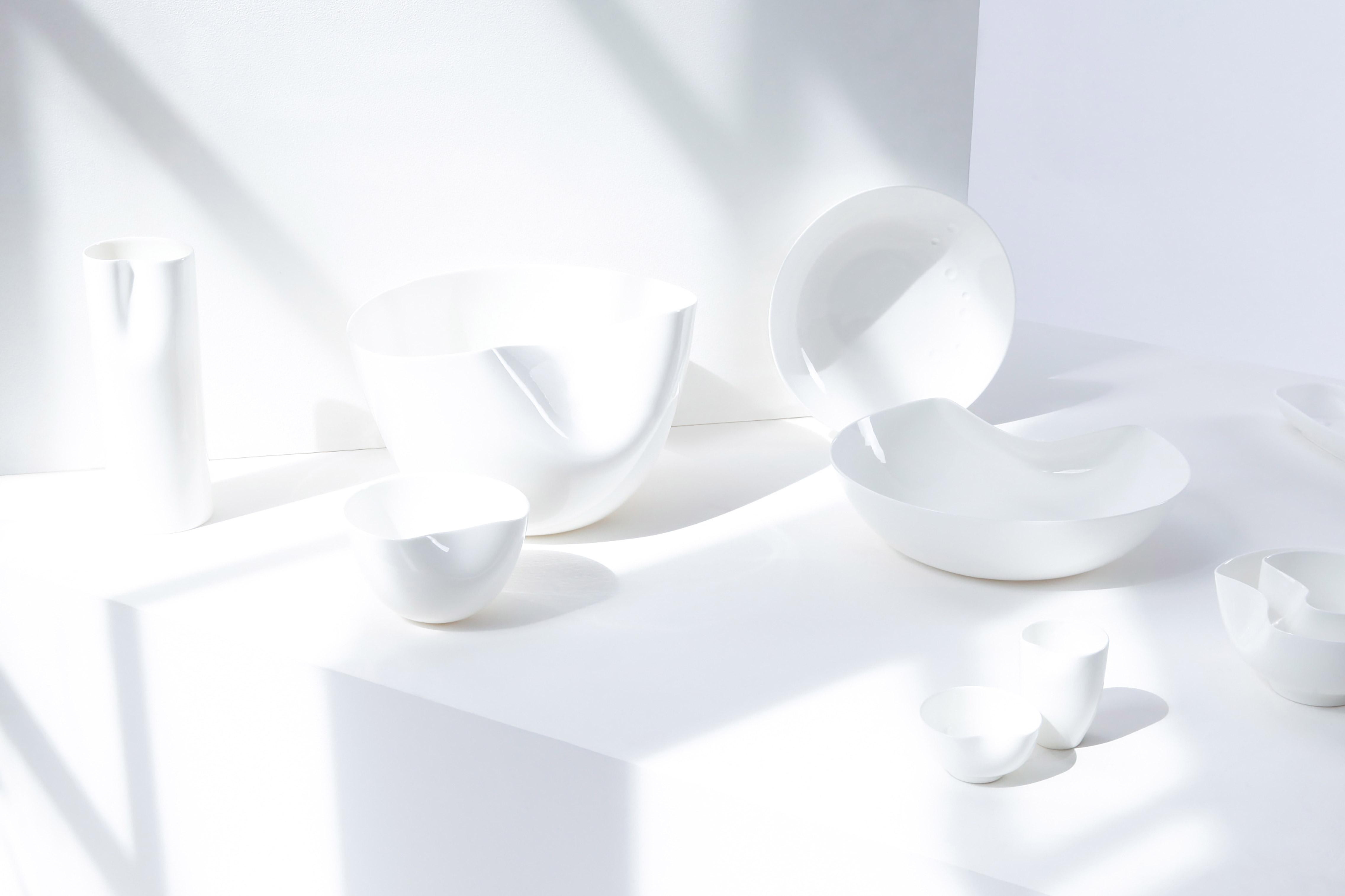 White Sculptural Fine Bone China Tableware Range designed by Bodo Sperlein