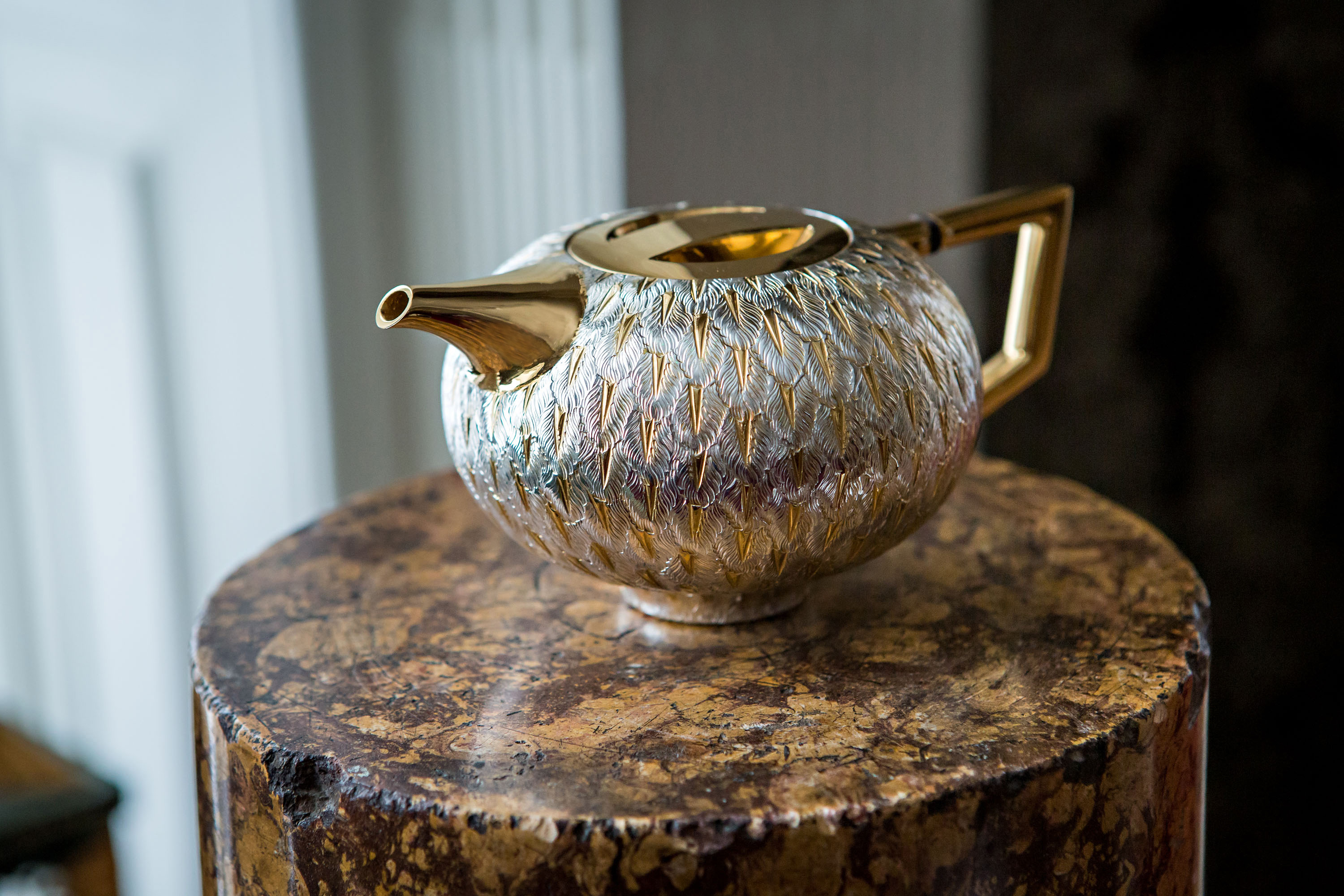 Tane Silver Voliere Teapot at Mallet Design Exhibition