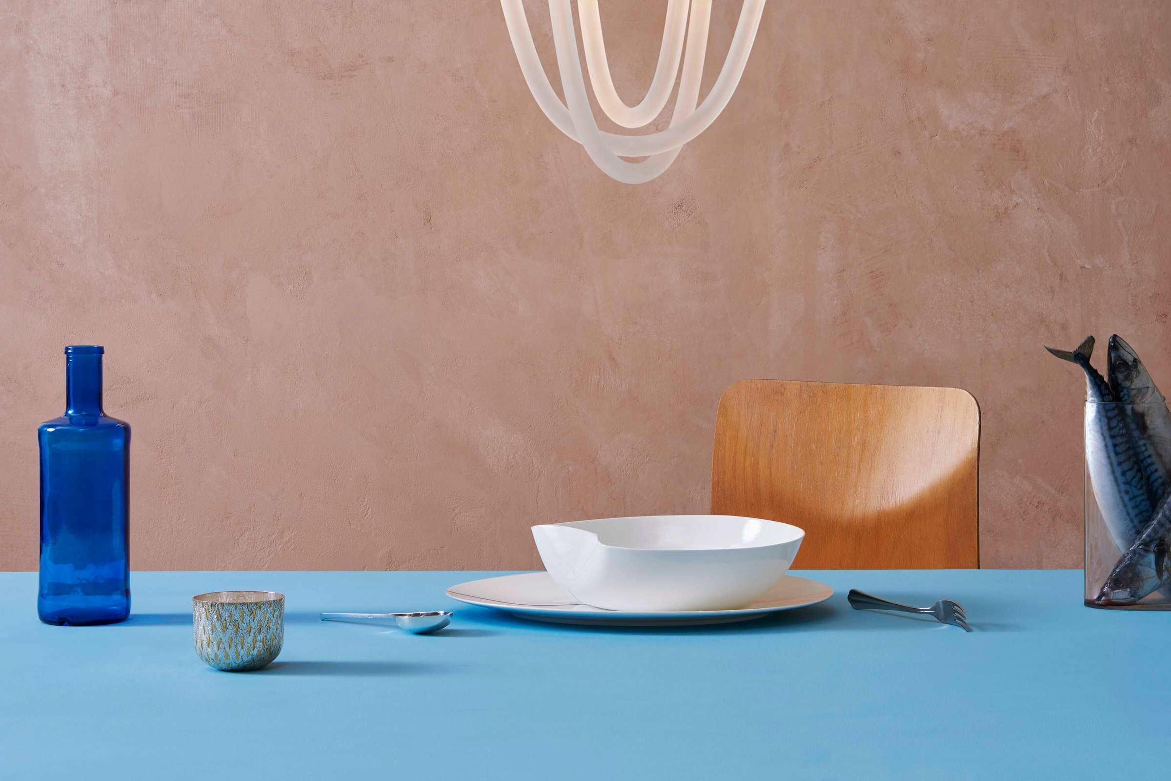 White Sculptural Ceramics Serving Bowl and Tane Silver Bowls designed by Bodo Sperlein