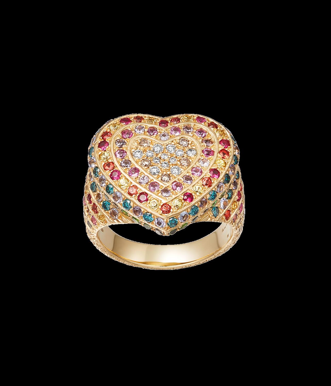Carolina Bucci Rainbow Pavé Heart Ring in 18k Yellow Gold