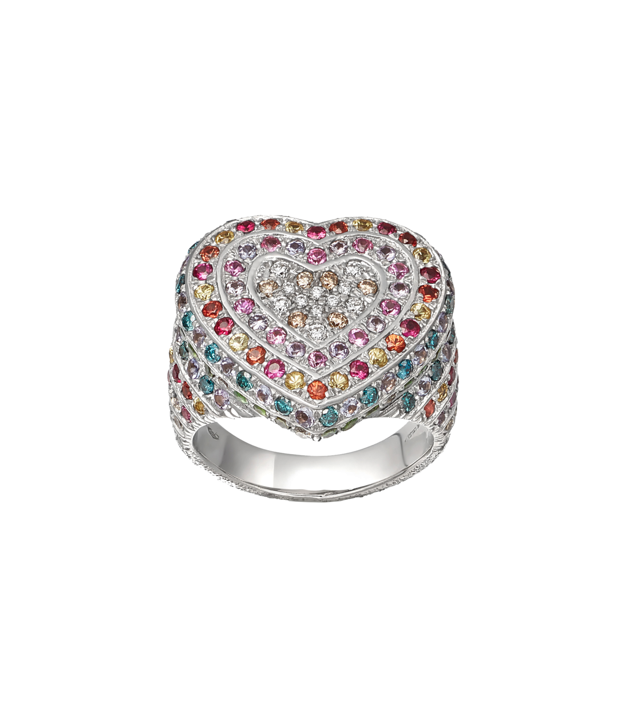 Carolina Bucci Rainbow Pavé Heart Ring in 18k White Gold