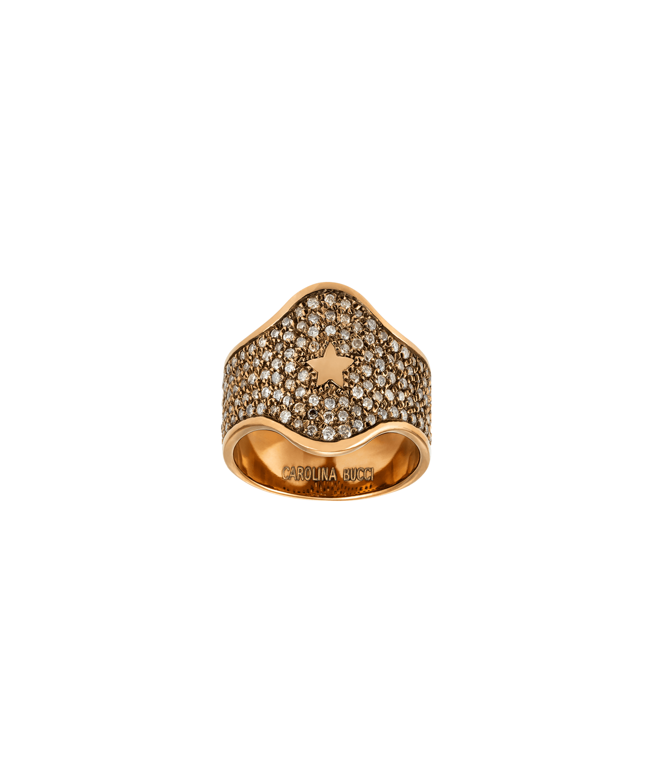 Carolina Bucci Champagne Diamond Pavé Shield Ring