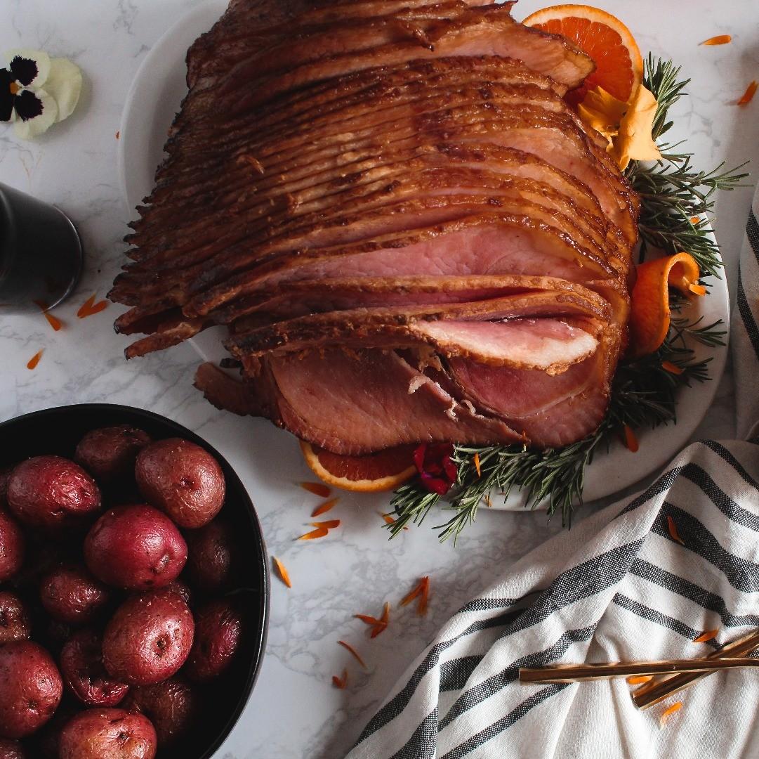 Balsamic Porter Glazed Ham with Sides