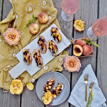 Balsamic Peach Canapes