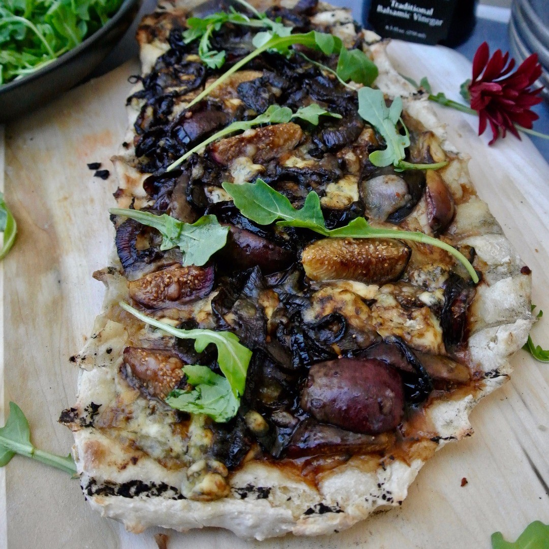 Grilled Fig and Balsamic Onion Pizza Finished Dish