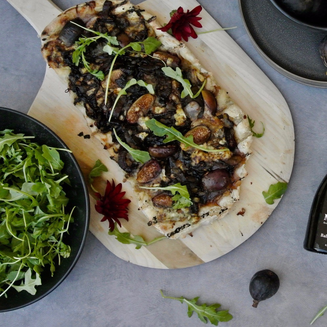 Grilled Fig and Balsamic Onion Pizza Served Looking Beautifully