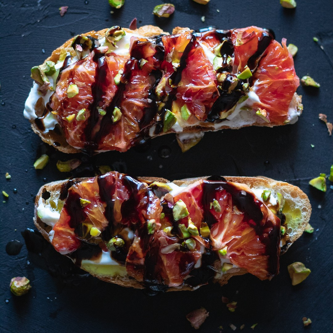 Blood Orange and Greek Yogurt Bruschetta