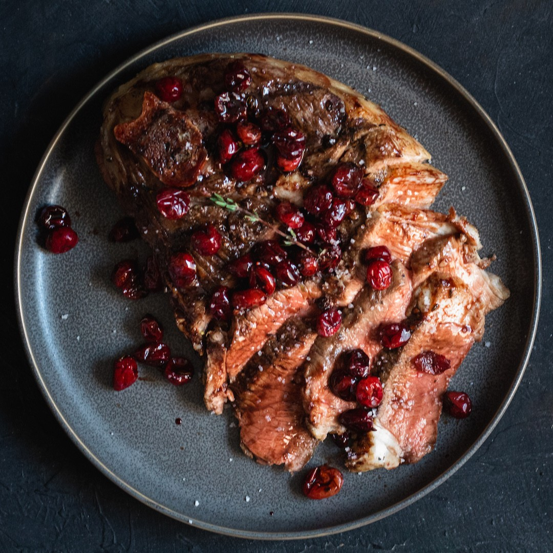 Balsamic Cranberries on Meat