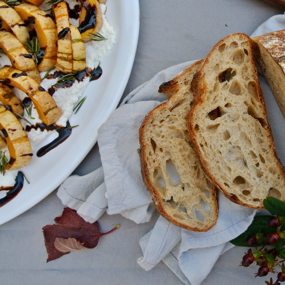 Balsamic Delicata Squash serve it with artisan bread