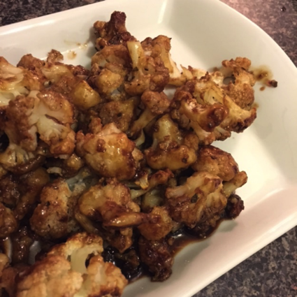Close look at the Balsamic Glazed Cauliflower Wings dish you can prepare in 10 minutes or less
