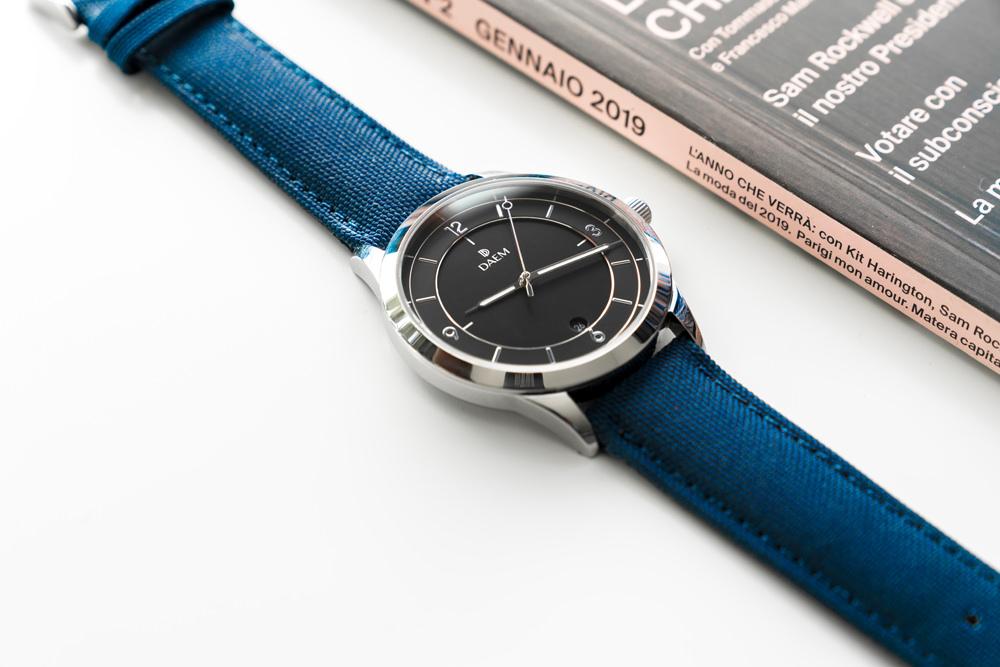 DAEM Sterling Blue canvas watch