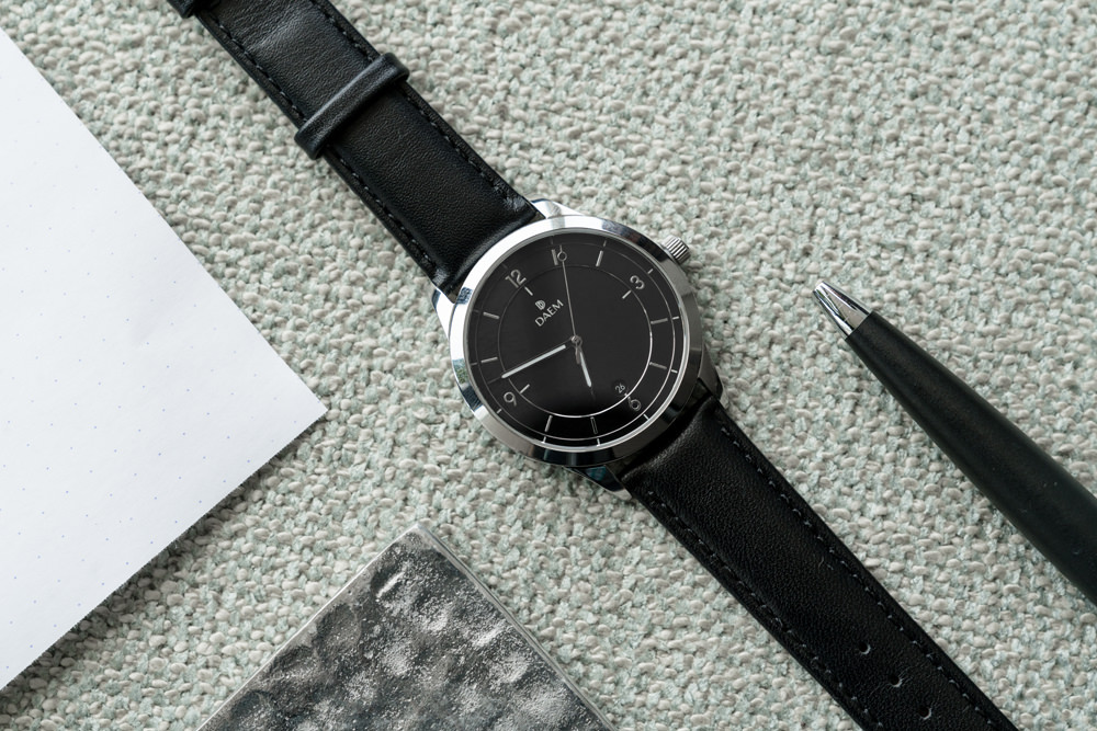 DAEM Sterling Black leather watch