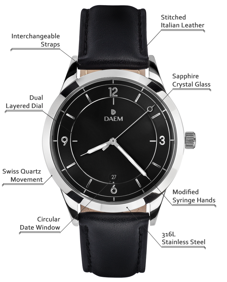 DAEM Sterling Black Leather detailed specifications
