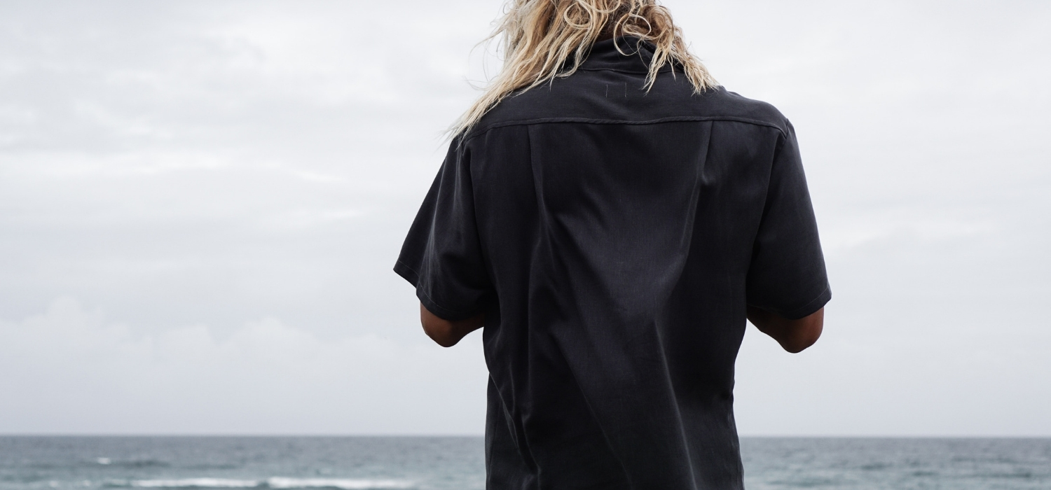 Tasi Travels' Men's Charcoal Long-Sleeve Voyager Shirt is handmade from a sustainable blend of Tencel & Hemp