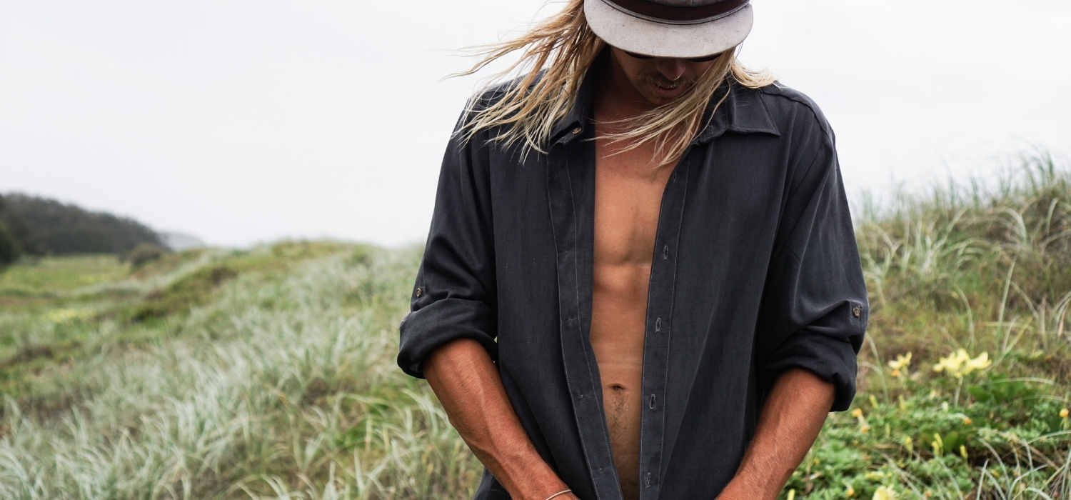 Tasi Travels' Men's Charcoal Long-Sleeve Voyager Shirt is handmade from sustainable Tencel
