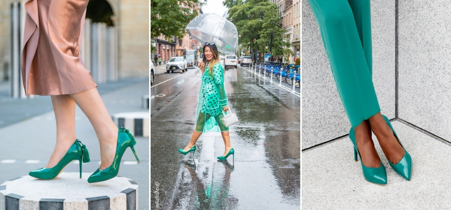 The vibrant Emerald Green Mulan Platform Heel from VEERAH is a stiletto with removable orchid brooch. Ethically & sustainably made in vegan patent leather.