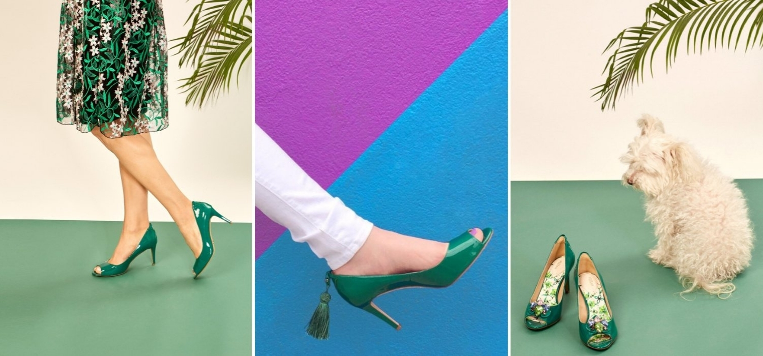 The Emerald Green Florence Mid Heel by VEERAH is vegan and cruelty-free
