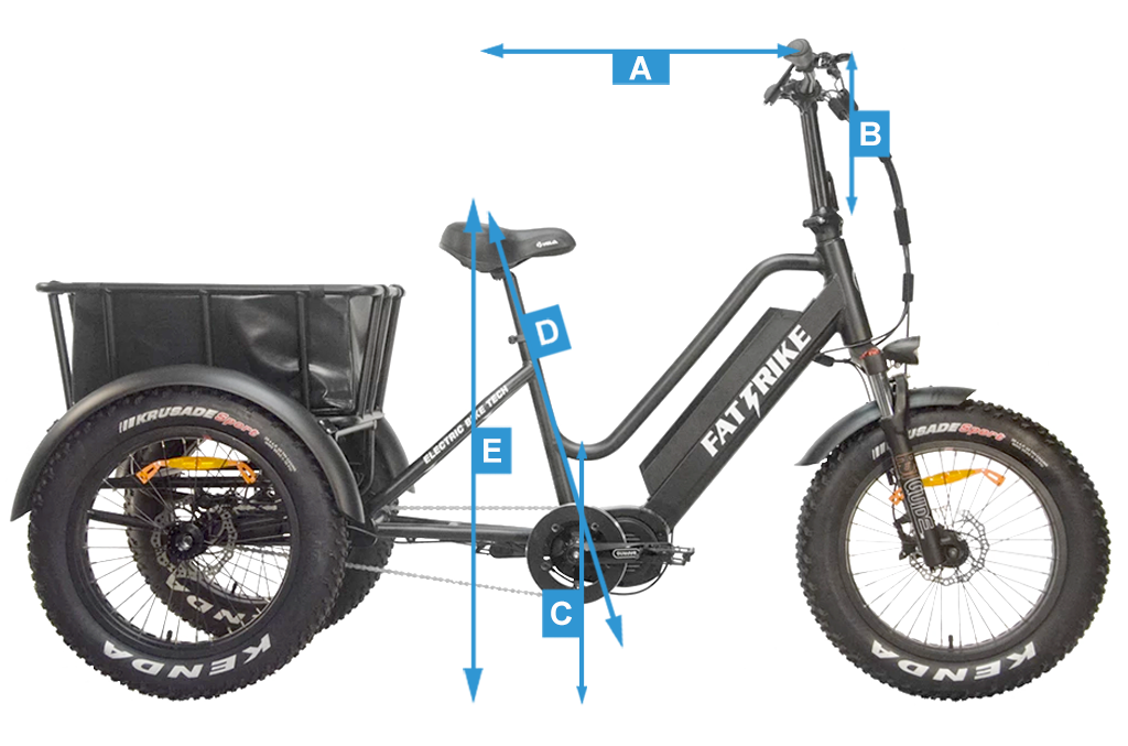 The overall measurements of the Fat Trike