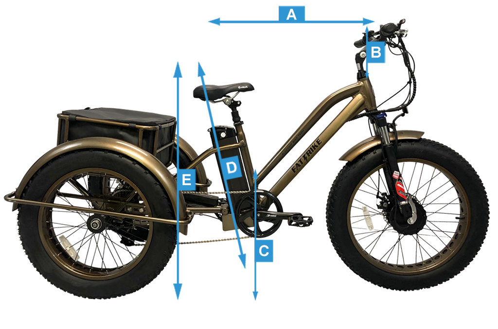 Overall measurements of the electric Fat Trike