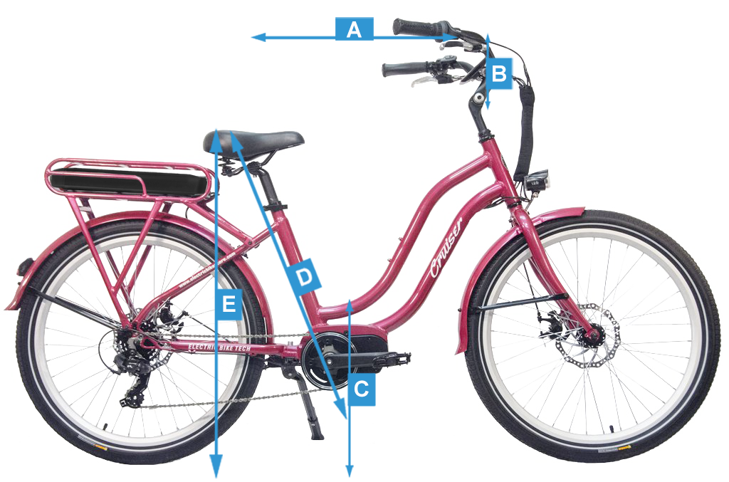 Overall measurements of the Electric Cruiser Bike