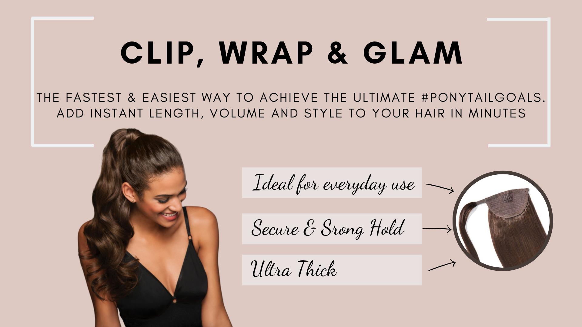 Erabella #1 Jet Black clip in hair extensions