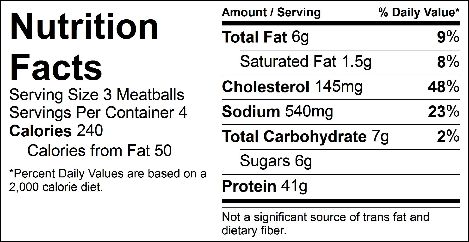 pure protein sweet and salty turkey meatballs nutrition facts