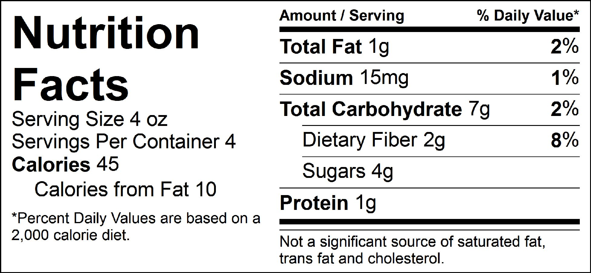 bulk veggies caribbean slaw nutrition facts