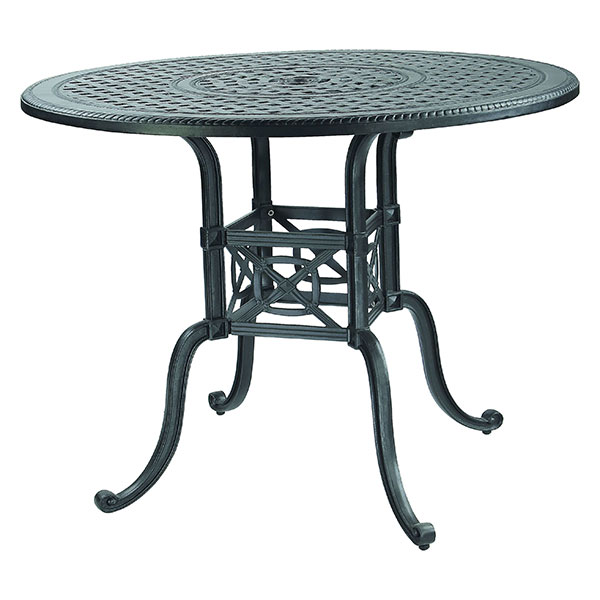 Gensun Grand Terrace Cast Aluminum 54''Wide Round Counter / Gathering Table with Umbrella Hole GES1034NA54