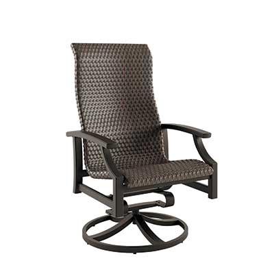 Marconi Hig Back Woven Swivel Rocker Dining Chair