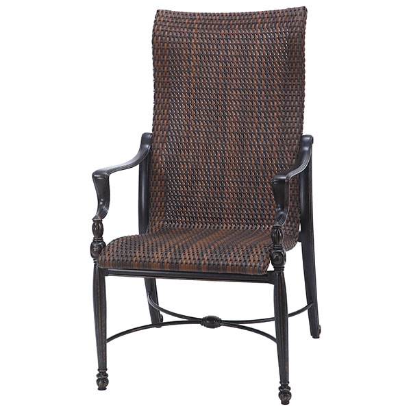 Bel Air Woven Cast Aluminum High Back Dining Arm Chair GES70990001