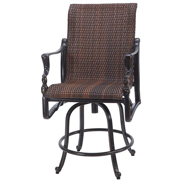 Gensun Bel Air Woven Cast Aluminum Swivel Counter Height Chair