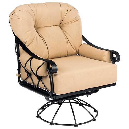 Woodard Derby Cushion Wrought Iron Swivel Rocker Lounge Chair