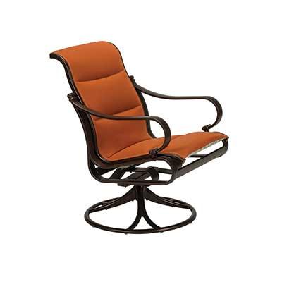 Torino Padded Sling Swivel Dining Chair with orange fabric