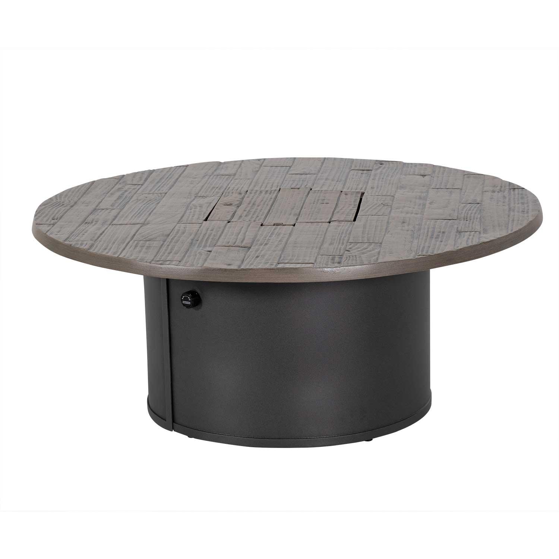Tropitone Woodplank Aluminum 42'' Wide Round Match Lit Fire Pit Table