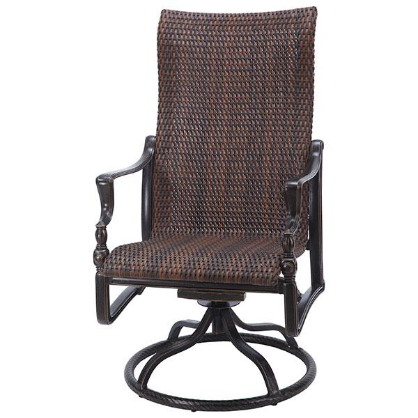 Bel Air Woven Cast Aluminum High Back Swivel Rocker Dining Arm Chair by Gensun