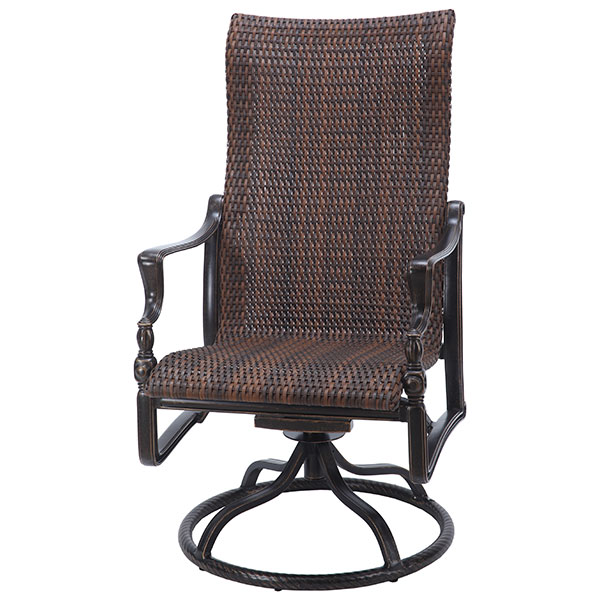 Bel Air High Back Woven Swivel Dining Chair