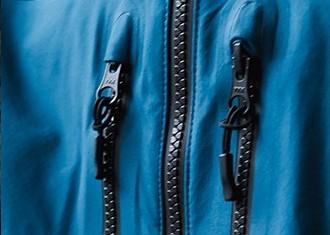 Ykk Aquaguard Zippers, closeup detail.  Waterproof vislon zipper