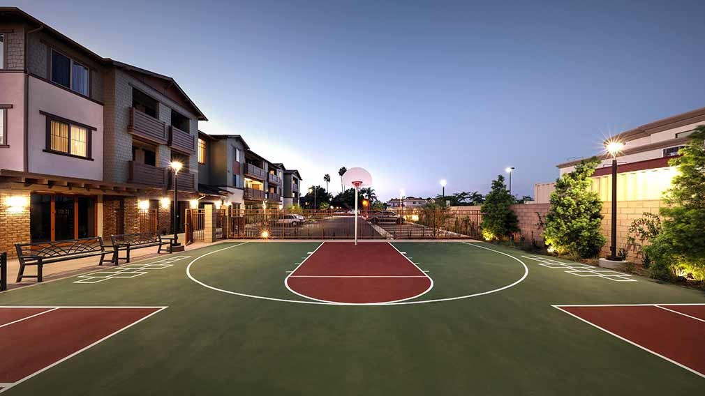 Jamboree's Rockwood Apartments basketball court in Anaheim, CA