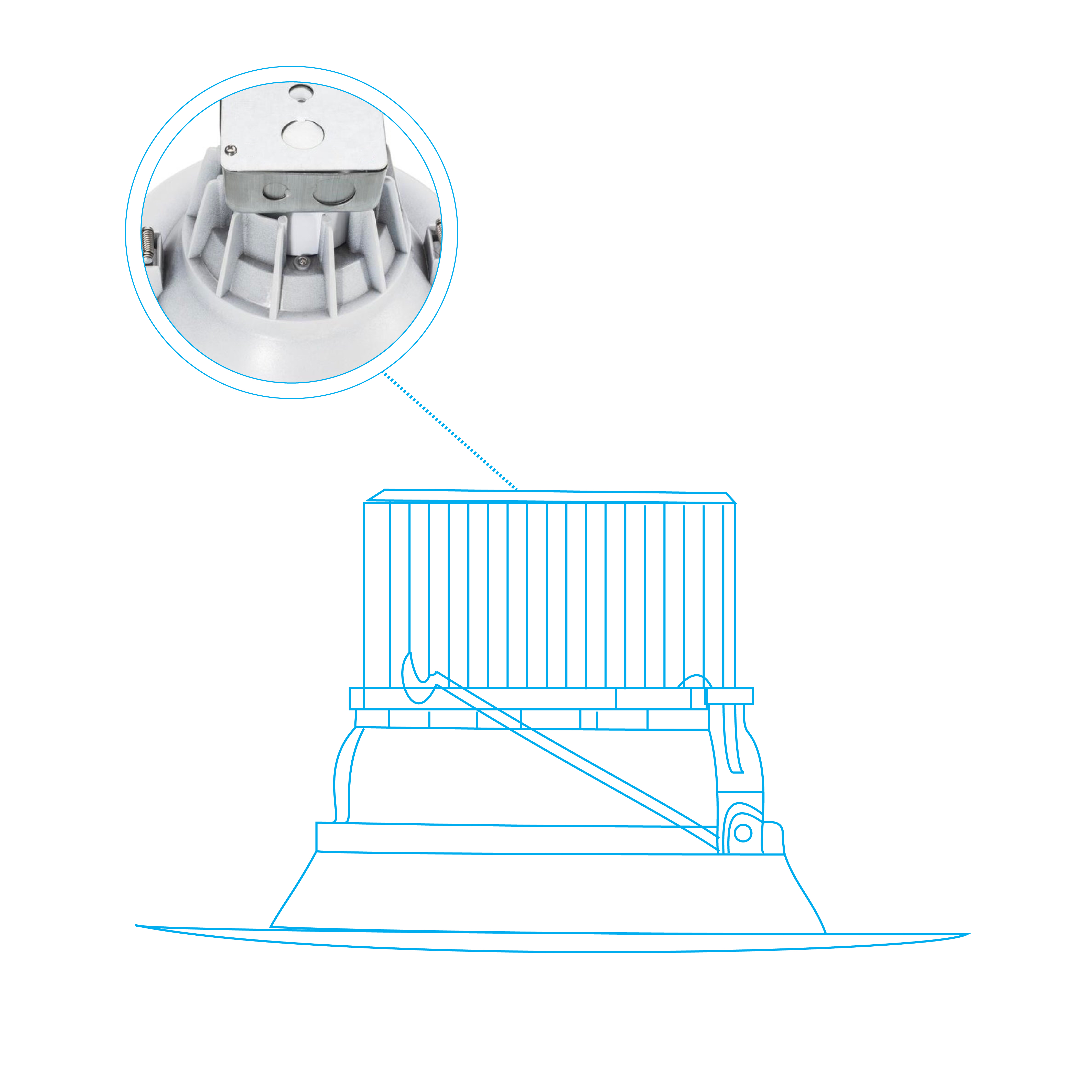 8 Inch Led Dimmable Downlight 30w W Junction Box Ledmyplace Wiring Instructions For Downlights The Housing This Is Made Of Rugged Die Cast Aluminium Better Durability