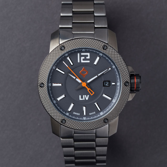 liv watches 22mm gray stainless steel bracelet on gx base