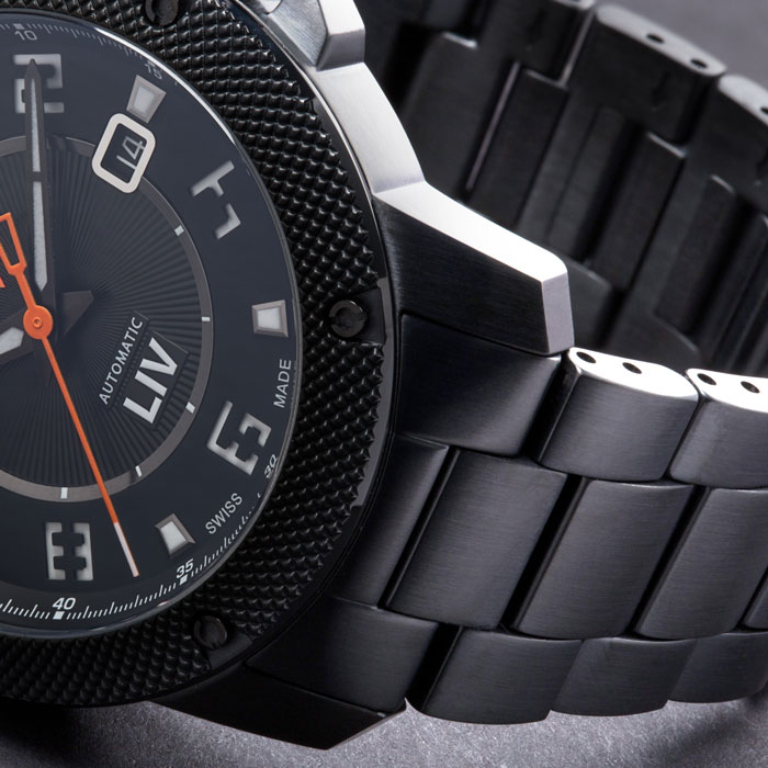 liv watches 22mm black stainless steel bracelet on gx1a