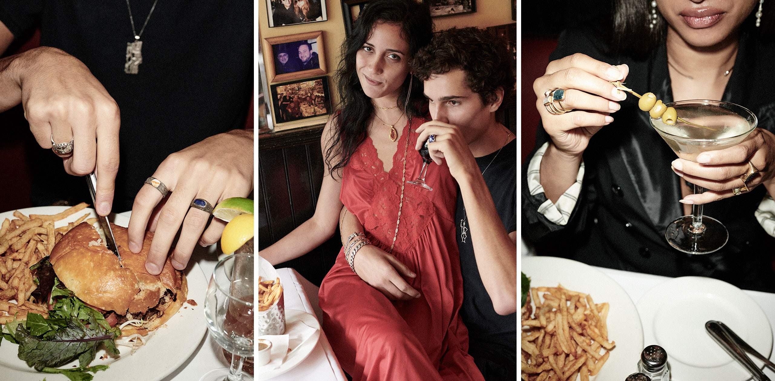 scenes from lucien nyc, a burger, a couple, a woman and a martini, all decked out in jewelry