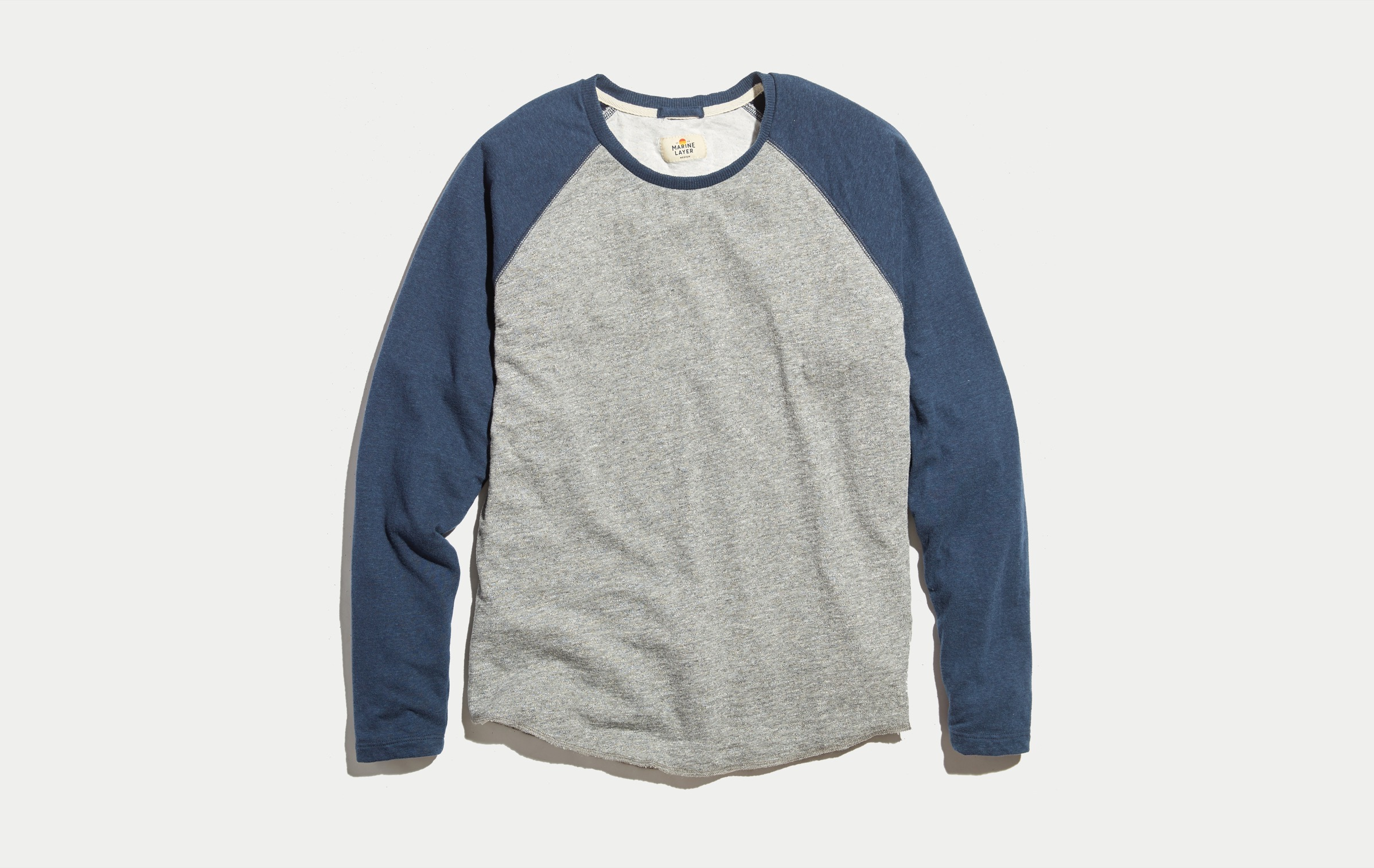 Double Knit Baseball Raglan In Heather Grey Navy Marine Layer
