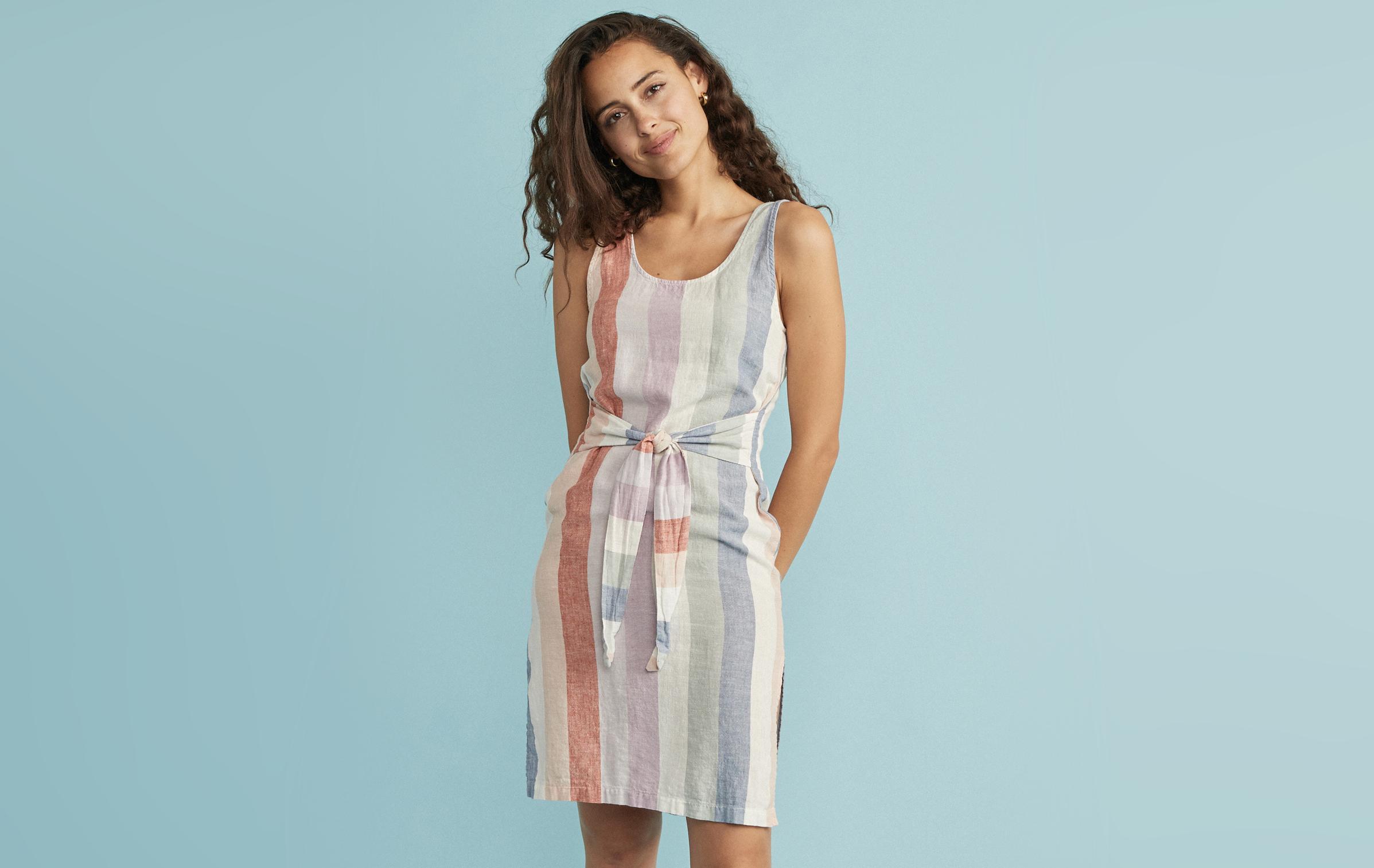 9c4491e2dbe64 Brea Tie Front Dress in Multi Stripe