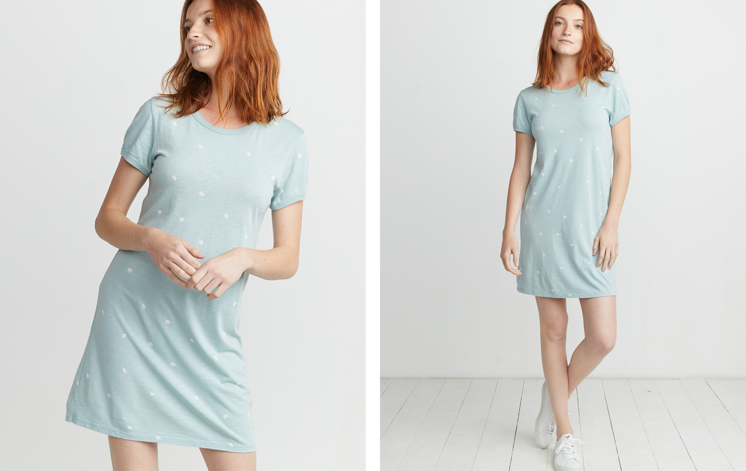 68be8b5267 Reese T-Shirt Dress in Seafoam Dot