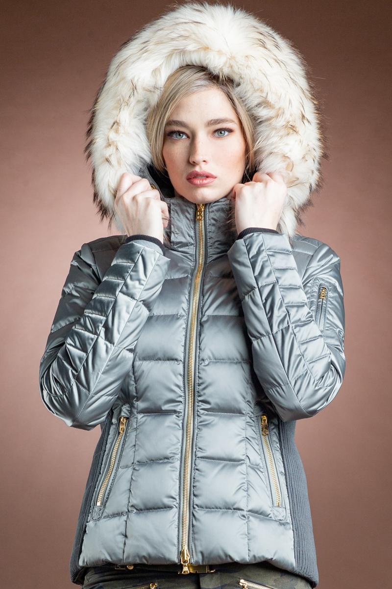 Uma-D Satin Ski Jacket - White Finnraccoon Hood Fur Trim