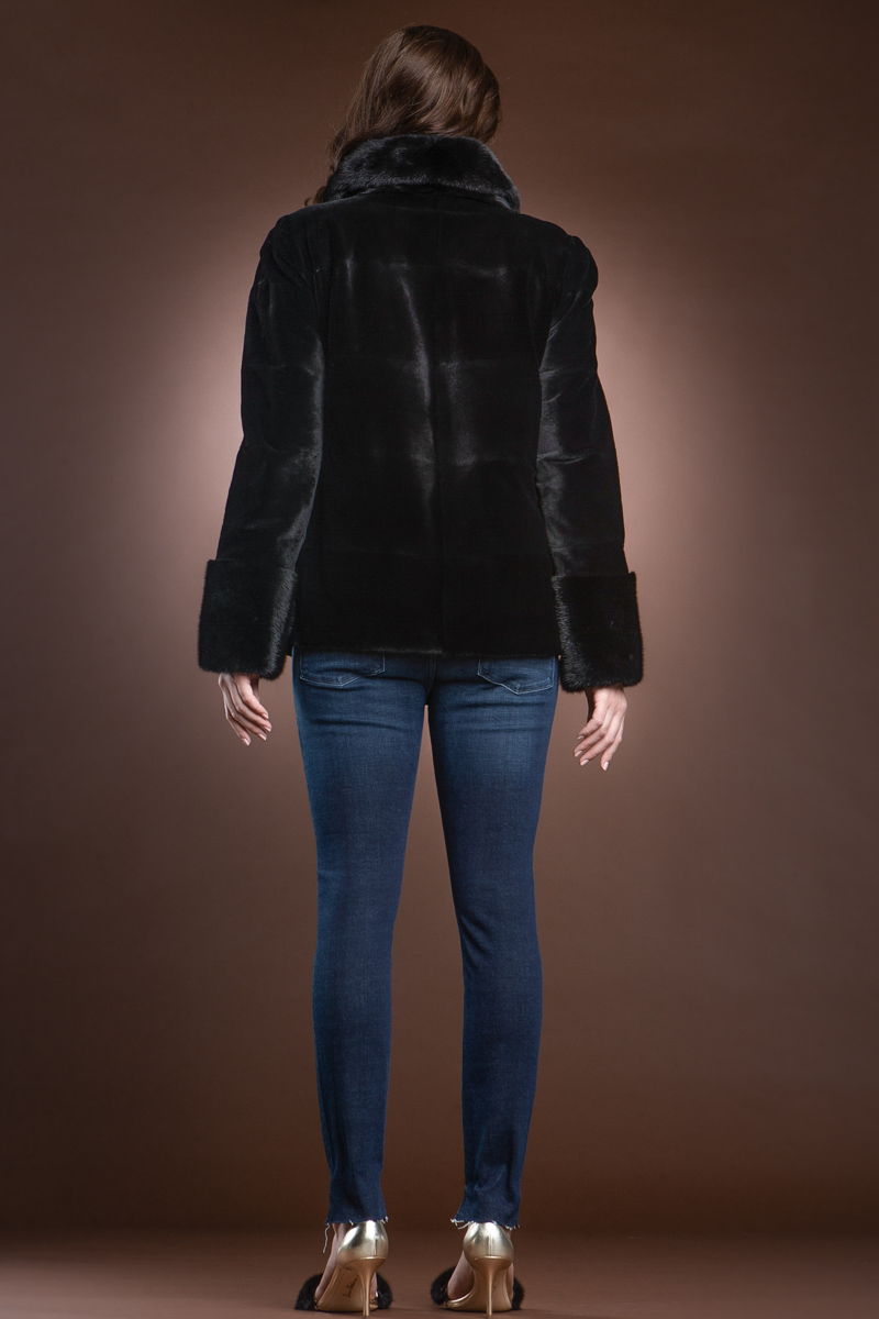 Black Sheared Horizontal Mink Fur Jacket with Natural Mink Trim