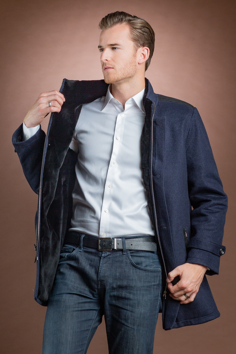 Men's Cashmere Sheared Mink Fur Lined Jacket