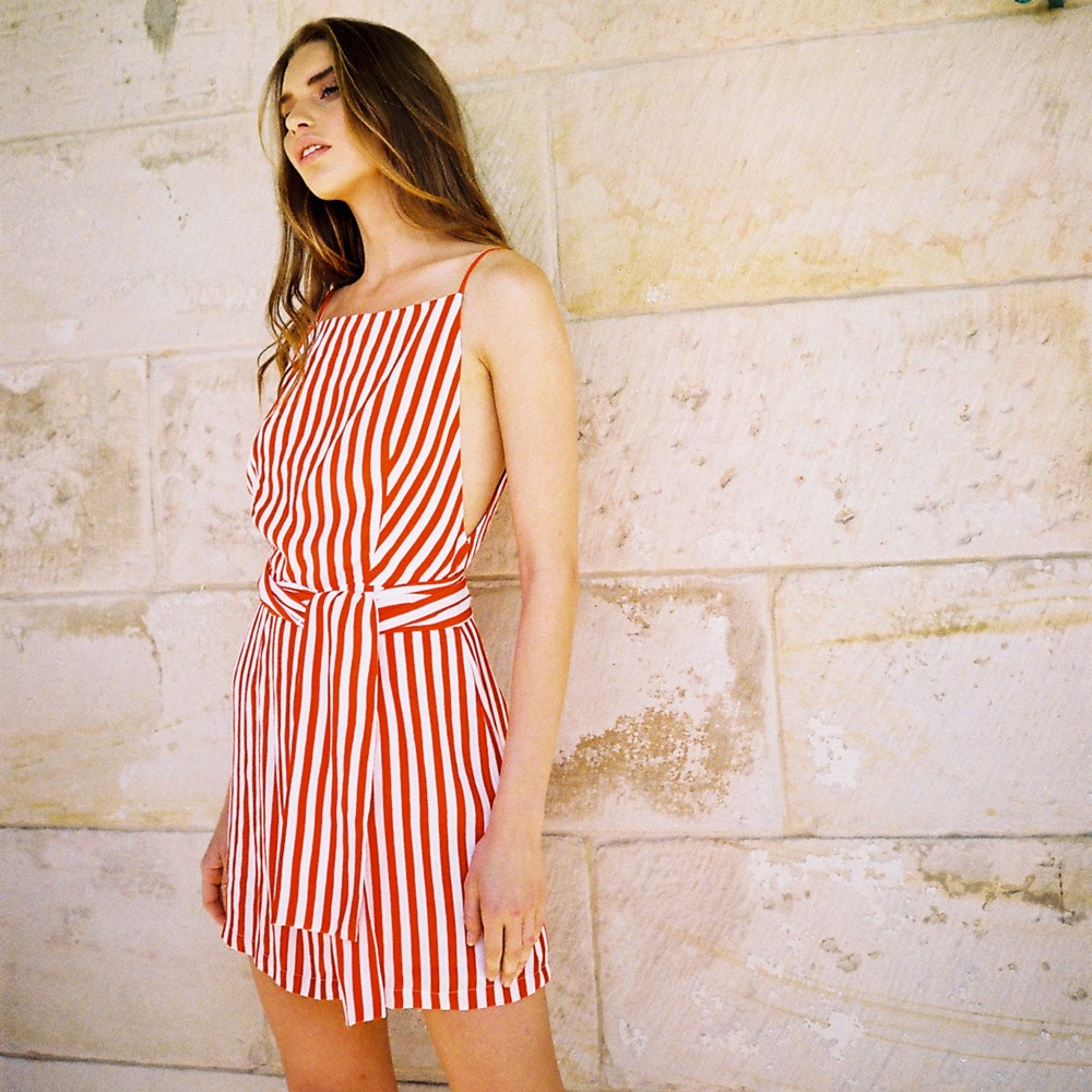 mlm label judy a line dress red stripe 35mm film